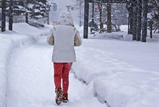 Marche dans la neige pendant l'hiver japonais à Hokkaido