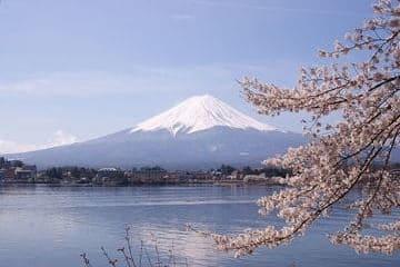 Un panorama du lac avec le mont Fuji en arrière plan