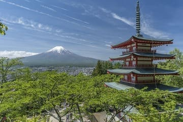 Un temple, une ville et le mont Fuji sur le même panorama