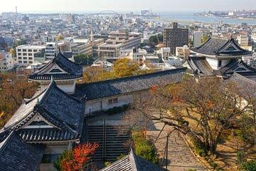 Panorama sur la ville et la cour du château de Wakayama