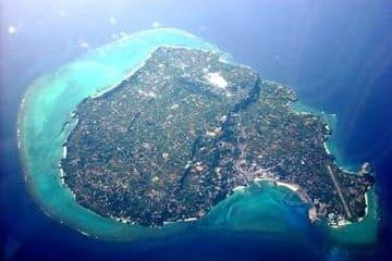 Vue aérienne de l'île Yoron des îles Amami