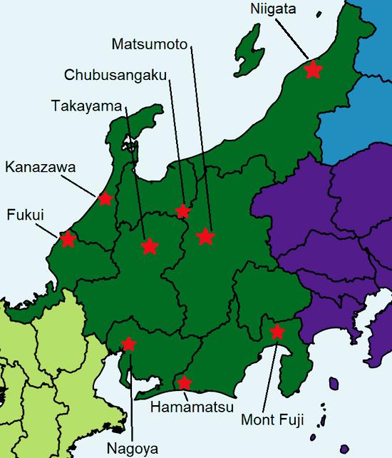 Une carte colorée du Chubu avec différents sites touristiques à visiter