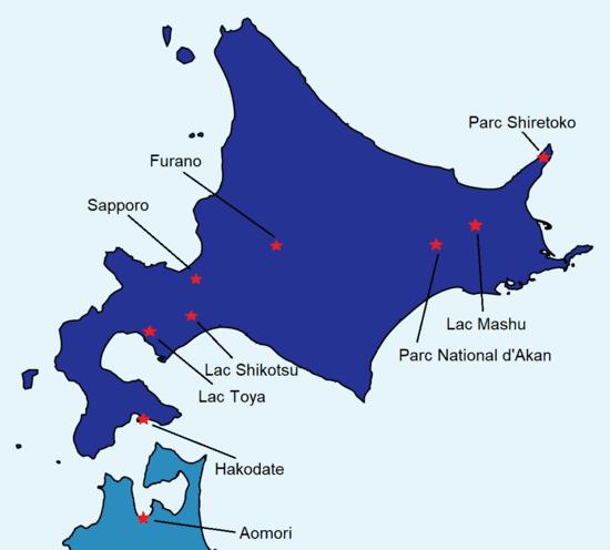 Carte détaillée de Hokkaido avec des sites touristiques