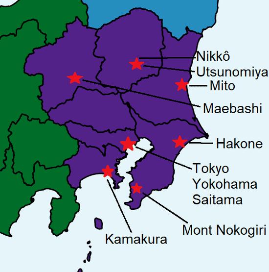 Carte détaillée du Kanto et les différents sites touristiques à explorer