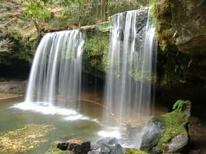 Photo de deux petites cascades dans le Kyushu