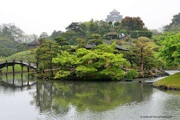 Panorama du jardin Korakuen et le château au loin