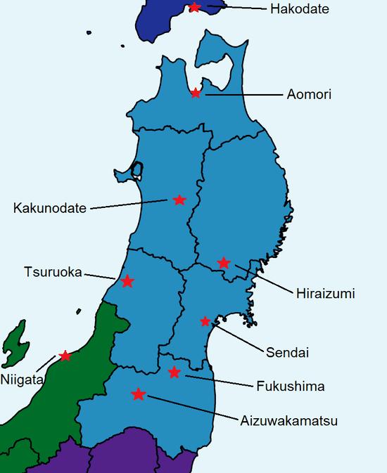 Carte détaillée du Tohoku avec des sites touristiques à voir