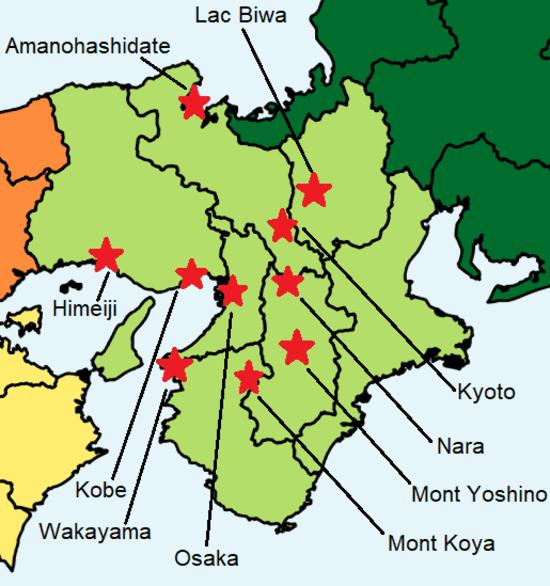 Une carte colorée du Kansai avec différents sites touristiques à visiter