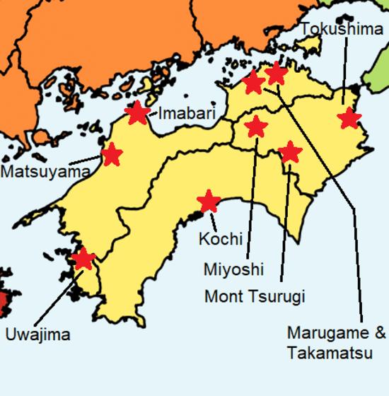 Une carte colorée du Shikoku avec différents sites touristiques à visiter