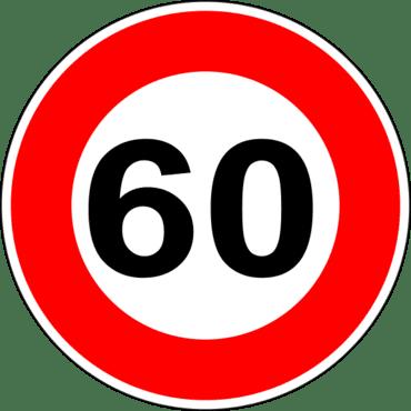 Panneau de signalisation de 60 kilomètres heure