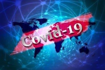 Une image du monde avec écrit covid 19