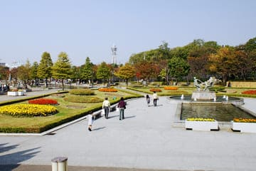 Photo du parc verdoyant du quartier de Tennoji