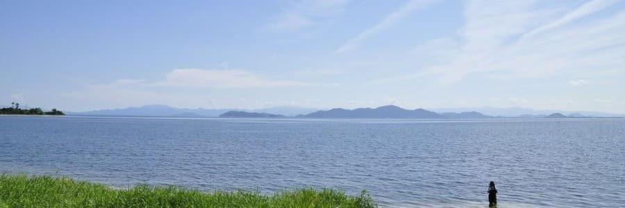 Panorama sur le splendide lac Biwa au Kansai