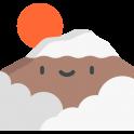 Logo d'une montagne souriante avec le rond rouge japonais